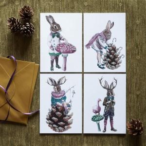 Christmas rabbit cards